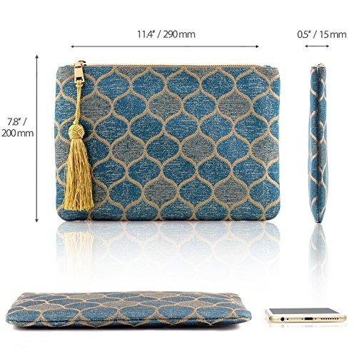 OTTO Pochette di Design da Donna in tessuto con Nappina sulla Zip - Perfetta per organizzare la borsa, per trucchi, chiavi, specchietto e carte di credito, come pochette per la sera - Leggera e compat Goccia Blu