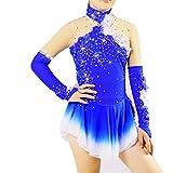 D&uDesign Eiskunstlauf Kleid Damen Eislauf Kleider Handarbeit Eiskunstlauf Kleid für Frauen M?dchen Professional Rollschuhkleid Wettbewerb Kostüm Hochelastisch,Blue+Purple,12