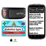 Typ-2 Diabetes ID-Armband Medizinisches ID-Karten-Set. Diabetiker liefert Medikamente, Kontakt mit NHS ohne Blutgruppeninformationen etc. Warnt Next of Kin im Falle eines Notfalls