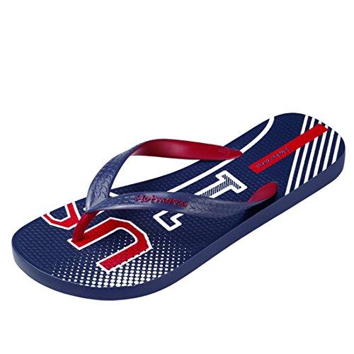 Hotmarzz Herren Zehentrenner USA England Sommer Strand Flip Flops Sandalen Badeschuhe Blau