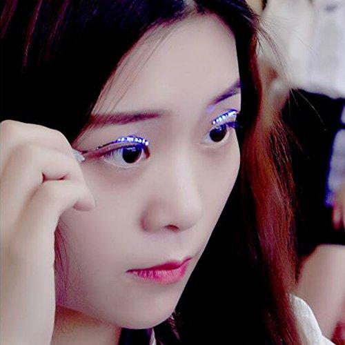 Unisex Flashes Interactive LED Eyelashe LED Light Eyelash Shining Eyeliner Charming Unique Waterproof Eyelid Tape Nightclub DJ by NYGY (Musik Gruselig Karneval)
