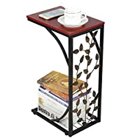 Yaheetech C-Shaped Small Side Table Antique Style End Table Metal Coffee/Tea Table Sofa/Settee/Chairs Side Table with storage shelf for Living Room Office Leaf Pattern Bedroom Furniture