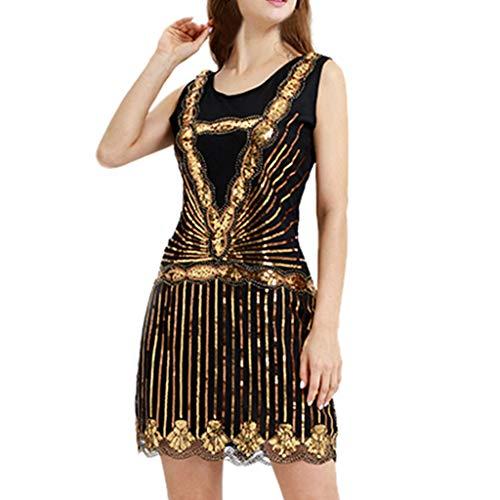 Kleider Damen, Marlene Frauen Elegant Pailletten Retro Bankett Minikleid Abend Party Cocktailkleid Damenkleider