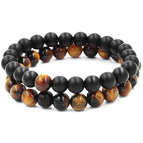 Belons Couple Stretch Bracelet 8mm Tiger's-Eye & Black Matte Agate Beads Distance Bracelet Set,