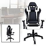 HG® Bürodrehstuhl Gaming Stuhl Premium Komfort gepolsterte Armlehnen Racing Stuhl Belastbarkeit 200 kg Höhenverstellbar Schwarz/weiß