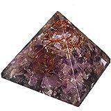 Pirámide de Orgonita con cristales de Amatista, Generador de energía orgón, equilibra la energía ambiental y protege contra campos electromagneticos - 65mm
