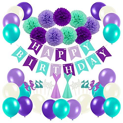 Parsion Geburtstagsdeko, Geburtstag Dekoration Set Kindergeburtstag Deko 1 Girlande Alles Gute zum Geburtstag Happy Birthday + 24 Meerjungfrau Kuchendeckel + 40 Große Geperlte Ballo für jeden Altern