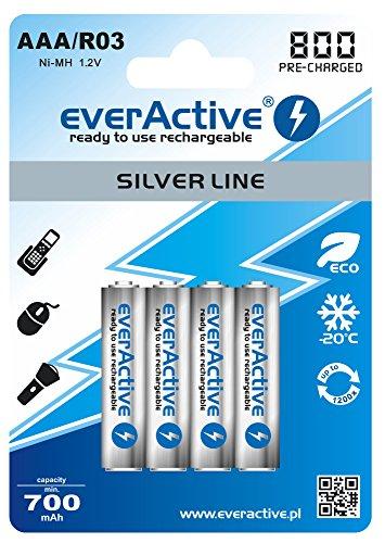 everActive Akku AAA 800 mAh 4 Stück, NI-MH, Micro R03, wiederaufladbar, vorgeladen, Silver Line 1.2V, 1 Blisterkarte