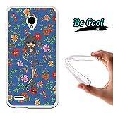 Becool® Fun - Funda Gel Flexible para Vodafone Smart Prime 6 .Carcasa TPU fabricada con la mejor Silicona , protege y se adapta a la perfección a tu Smartphone y con nuestro diseño Muñeca con flores azules