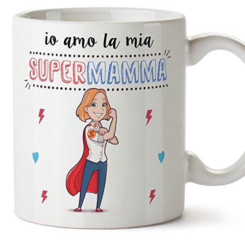 Mugffins tazza mamma migliore del mondo – io amo la mia super mamma – tazza in ceramica da 350 ml idea regalo festa della mamma