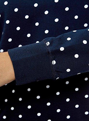 oodji Ultra Damen Bedrucktes Sweatshirt Basic Blau (7912D)