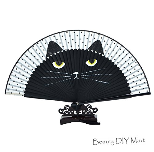 Japanische Dekorationen Stoff und Bambus Hand Fan Faltfächer mit Zeichenstift Katze Bemalt Katze kawaii Weihnachten Crafts Geschenk Geburtstag schwarz (Japanische Fans)
