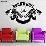 guijiumai Rock'n'roll Musik Crown Guns Revolver Rock Wandaufkleber Vinyl Wohnkultur Wohnzimmer Abziehbilder Removable Poster Wallpaper rot L 96x57 cm