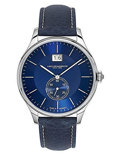Abeler & Söhne fabricado en Alemania Reloj de hombre (Fecha Grande, con cinta de piel, cristal de zafiro y as3273