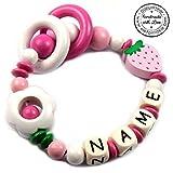 Premium Greifling mit Namen HOLZ Rassel Modell Erdbeere Blume pink