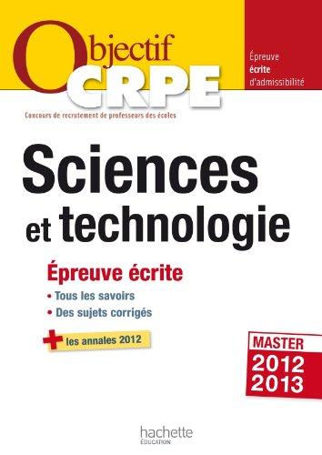 Objectif CRPE Epreuve écrite de sciences et de technologie