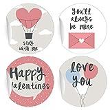 24 Liebes Aufkleber | Sticker mit 4 verschiedenen romantischen Valentins Motiven, MATTE universal Papieraufkleber für Geschenke, Etiketten für Tischdeko, Pakete, Briefe und mehr (ø 45mm