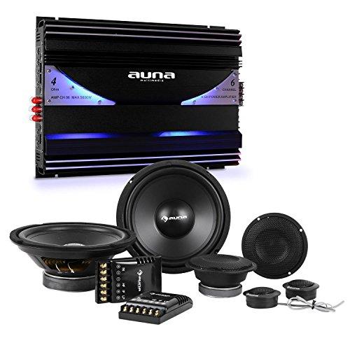 """auna CS-Comp-8 • Car-HiFi-Set • 6-Kanal Endstufe • Komplettset • 2 x 8""""-Subwoofer • 2 x 4-Mitteltöner • 2 x 1,57""""-Dome-Hochtöner • 6400 Watt max. Leistung • blaues LED-Lichteffekt • schwarz"""