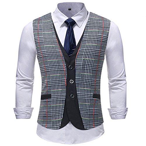 Sannysis Anzugweste Herren Männer Casual Plaid Gestreifte Print Jacke Ärmellose Mantel Britische Anzug Baumwoll Weste -