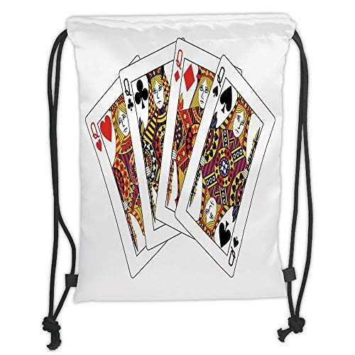 LULUZXOA Gym Bag Printed Drawstring Sack Backpacks Bags,Queen,Queens Poker Set Faces Hearts and Spades Gambling Theme Symbols Playing Cards,Black Red Yellow Soft Satin