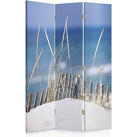 Feeby Frames Biombo impreso sobre lona, tabique decorativo para habitaciones, a una cara, de 3 piezas (110x180 cm), PLAYA AZUL BEIGE