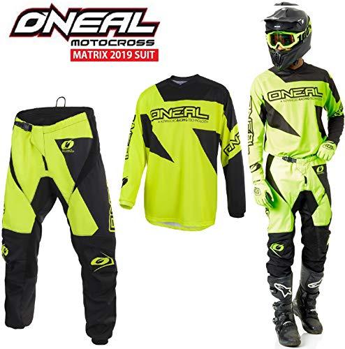 Tuta Motocross Oneal Matrix 2019 Adulti Tuta Moto Sport MX Jersey e Pantaloni Combinazione, off Road 2 Pezzi Quad ATV Kart Dirt Bike Racing Suit (Neon Giallo,XL/36)