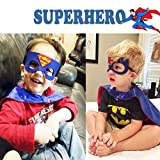 Kids Fancy Dress with Batman and Superhero Costumes for Men&Girls, Children Dress Up Costume with Superman Masks, Batman Masks and Capes Satin, Cosplay Cloaks for Party Supplies(2 Sets, Capes + Masks)