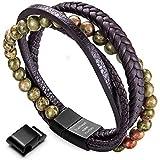 Armband Männer Perlenarmband Lava Rock Stein Armband mit Einstellbar Verschluss in Edelstahl 7''- 9 Schwarze Bälle mit Braun Leder