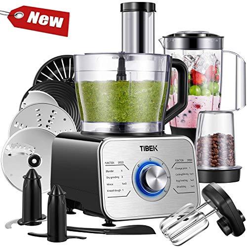 TIBEK Robot Cuisine Multifonction 1100W Robot de Cuisine 11 in 1, 3 Fonctions de Vitesse et...