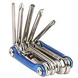 TRIXES Kompaktes Fahrrad - Multifunktionswerkzeug, klappbar in Chrom / Blau mit Steckschlüsseln und Sechskant - Schraubendreher-Set