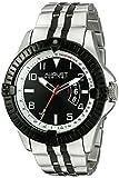 August Steiner Hommes de montre à quartz avec affichage analogique et cadran noir deux tons Bracelet en alliage as8185ttb
