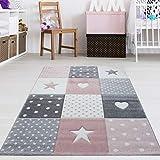 Kinderzimmer Teppich Sterne & Herzen Grau Rosa Pastell Größe 120 x 170 cm