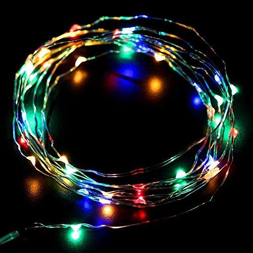 Eastchina Mini guirlande à piles 30 micro LED Argenté/multicolore 3 m 4,5 V