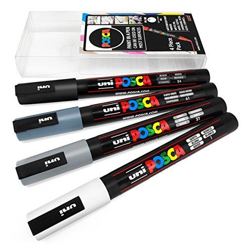 Uni Posca PC-3M - Juego de 4 rotuladores para pintura artística, en estuche de plástico, color gris