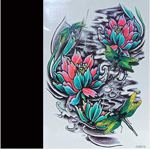ruofengpuzi Lotus Pond Dragonfly temporäre Tätowierung wasserdicht Männer und Frauen 3D Tattoo Arm Aufkleber gefälschte Arm Set Body Tattoo Schulter Tattoo (Dragonfly Mann Kostüm)