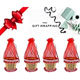 Majik Diwali Gifts For Office Staff, Mini Plastic Bucket For Candy, Dry Fruits, Chocolates, Decorative Potli For Gift, Set Of 4, Red, 40 Gram, Pack Of 1