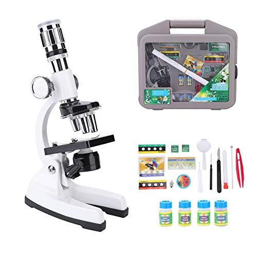 Dilwe Mikroskop für Kinder, 1200X Tragbare Biologische Verbindung Monokulare Mikroskop LED-Licht Optische Glaslinse Wissenschaft Spielzeug für Kinder