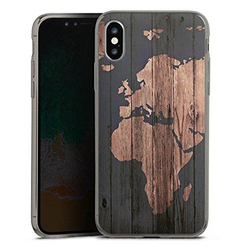 DeinDesign Apple iPhone X Slim Case transparent anthrazit Silikon Hülle Schutzhülle World Map Weltkarte Holz