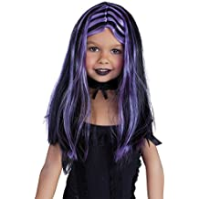 Haunted House Peluca de brujita con mechas, color negro y lila (Rubies Spain S1512