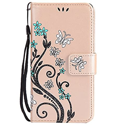 SONY XPERIA Z3 Case Gold Leather, Cozy Hut Retro Butterfly Flower Patterned Embossing PU Leather Stand Function Protective Cases Covers with Card Slot Holder Wallet Book Design Detachable Hand Strap for SONY XPERIA Z3 - Gold