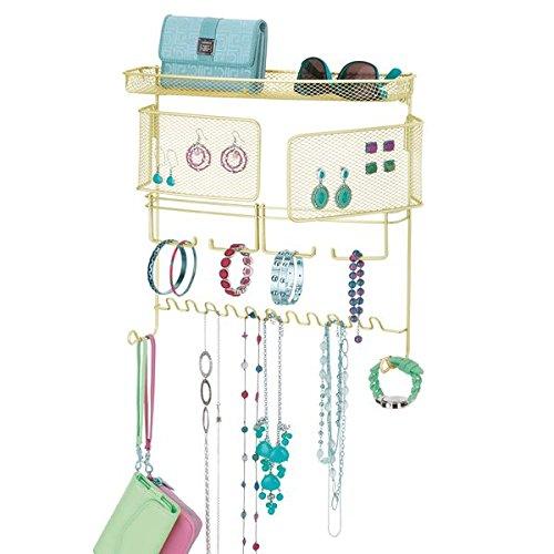mDesign Schmuckhalter Wand - perfekte Hängeaufbewahrung für Halsketten, Ohrringe, Armbänder und andere Accessoires - der ideale Schmuck Organizer - gold