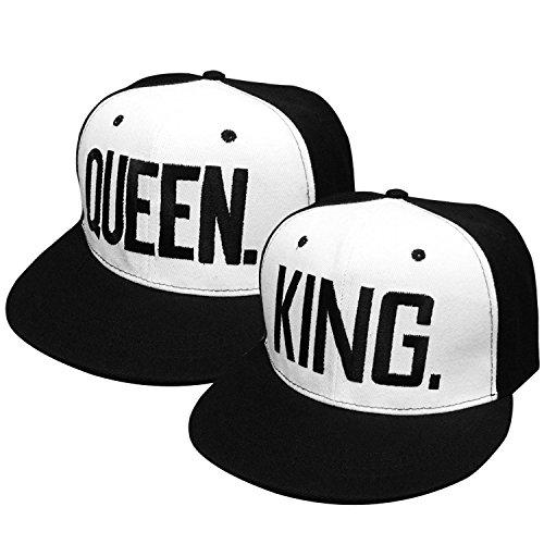 2PCS King und Queen verstellbar Hip-Hop Hüte 3D Fashion Bestickt Liebhaber Paare Snapback Kappen, Black Letter Style