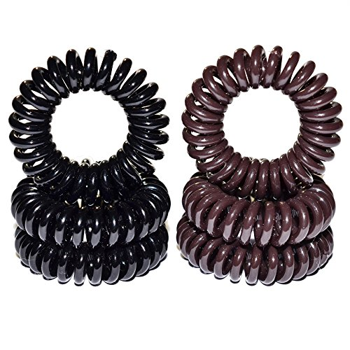 Miya Set of 6Quality Hair Rubber Plastic Mini, 3Pieces Elastic Telephone Line Cable Wire Spiral Telephone in Black and Brown Hair, Hair Accessories, Rubber Band by Miya beautycenter