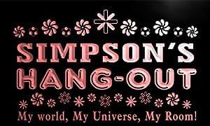 pq1126-r Simpson's Hang Out Girl Kid's Room Light Princess Neon Sign