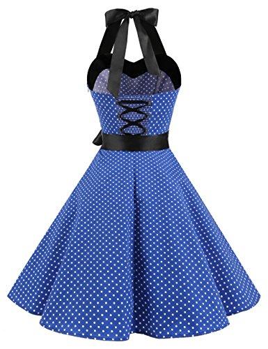 Dresstells Neckholder Rockabilly 50er Vintage Retro Kleid Petticoat Faltenrock Royal Blue Small White Dot