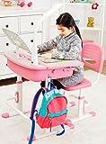 Scrivania Tavolo Sedia Ergonomica Per Bambini Basculante Scrittoio Set Di Mobili Altezza Regolabile Per L'apprendimento Lampada LED Per Computer Cassetto Rosa