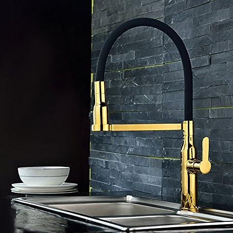 S R SUNRISE golden Mischbatterie Wasserhahn 360° drehbar Schwenkbarer Wasserhahn Armatur für Küche Waschbecken