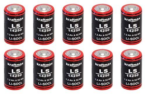 10x Lithium 3,6V Batterie LS 14250-1/2 AA ER14250 Li-SOCl2 LS14250 Akkuman.de Set (10er) 6-volt-lithium-batterie
