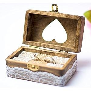 Happy Weddng Art Ringkissen Hochzeit Ring Box Ringbox Vintage Stil Holz Ring Schatulle Hochzeitsdeko Deko Holz Ring Box
