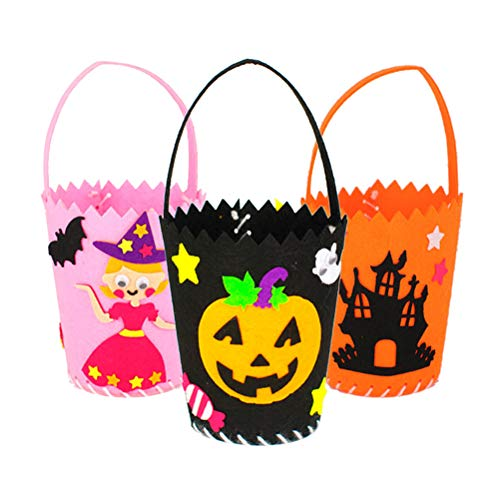 Toyvian 3 stücke Halloween DIY vlies süßigkeiten Tasche Trick or Treat Taschen süßigkeiten Geschenk Aufbewahrungstasche Beutel parteibevorzugung Tasche (kürbis + Prinzessin + Schloss)